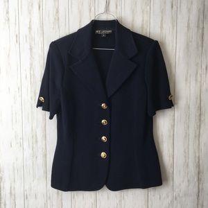 St. John • Navy Short Slv Knit Gold Buttons Blazer